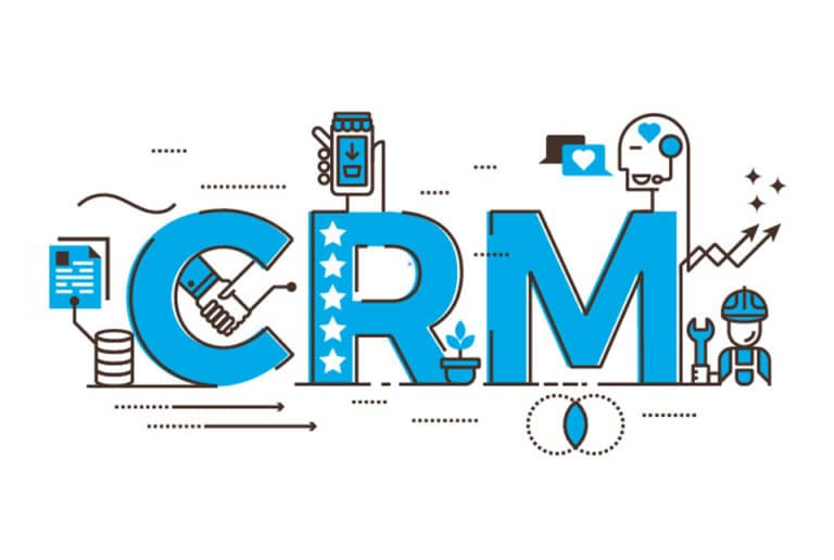 CRM text with icons