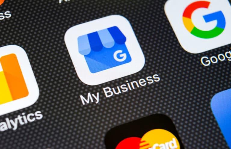 Google My Business logo on a smartphone