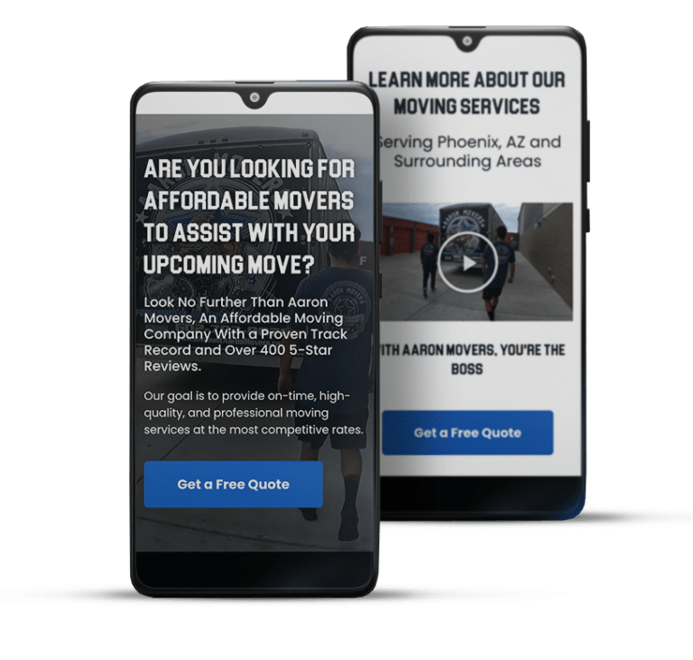 Paid search services mobile landing page example